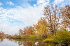 在河的秋天,年的美好的时光 免版税库存照片