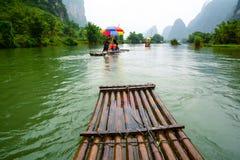 在河的竹木筏 图库摄影