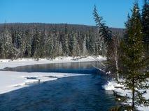 在河的美好的冬天日落在俄罗斯 图库摄影