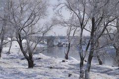 在河的美好的春天风景 免版税库存图片