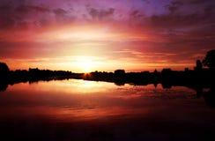 在河的美好的金黄日落 美好的自然 库存照片