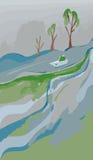 在河的舡鱼在春天 库存图片