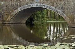 在河的被成拱形的桥梁Evre在卢瓦尔谷 免版税库存图片