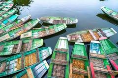 在河的越南小船 Ninh Binh 越南 免版税库存图片