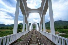 在河的铁路桥多云的 免版税库存图片