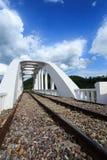 在河的铁路桥多云的 免版税图库摄影