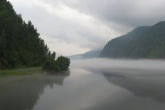 在河的雾 免版税库存照片