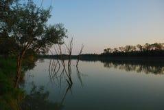 在河的黄昏 免版税库存图片