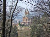 在河莱茵河的Drachenfels城堡 库存图片
