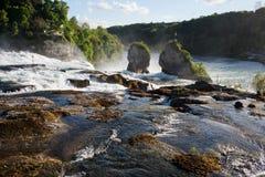 在河莱茵河,瑞士的瀑布 免版税图库摄影