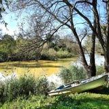 在河附近的一条小船 库存图片