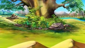 在河附近的大树在一个夏日 免版税库存照片