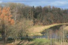 在河附近的美好的春天风景 库存照片