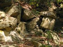 在河附近的翻滚的砂岩峭壁 库存图片
