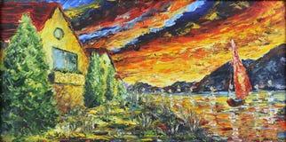在河附近的议院日落的,油画 库存图片