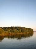 在河附近的绿色秋季森林蓝天背景的,垂直的看法 免版税库存图片