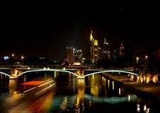 在河主要的看法对法兰克福地平线  免版税图库摄影