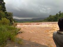 洪水在河 库存照片