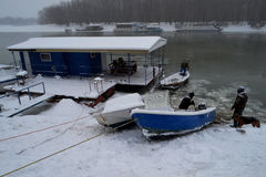 在河Borcea的浮冰 免版税图库摄影