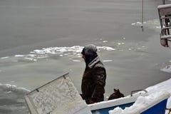 在河Borcea的浮冰 免版税库存照片