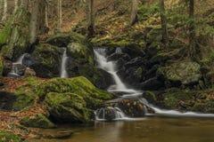 在河Cista的瀑布Krkonose山的 图库摄影