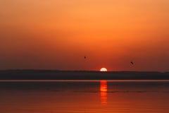 在河Dnipro和橙色天空的美好的燃烧的日落风景在它上与令人敬畏的在镇静水的太阳金黄反射 免版税库存图片