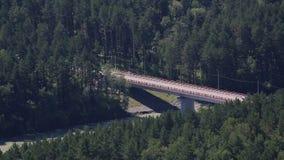 在河Katun的新的桥梁Aysky。阿尔泰边疆区。 影视素材