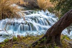 在河Krka的小瀑布 免版税库存照片