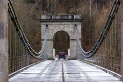 在河Luznice的Stadlecky铁锁式桥梁 免版税库存照片