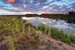在河Neman的晚上 免版税图库摄影