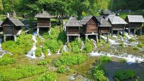 在河Pliva的Watermills 库存图片