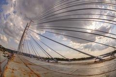 在河Sava,贝尔格莱德,塞尔维亚的Ada桥梁 免版税库存图片