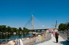 在河Sava 1的新的贝尔格莱德桥梁 免版税库存照片