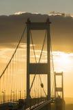 在河Severn出海口的Severn桥梁 免版税库存照片