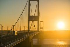 在河Severn出海口的Severn桥梁 库存照片
