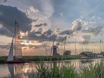在河Thurne诺福克的日落 库存照片