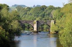 在河Usk的桥梁 库存图片