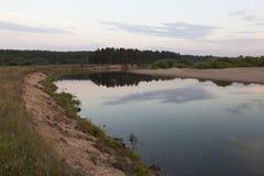 在河Vaga的夏天晚上 免版税库存照片