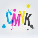 在油漆的CMYK信件飞溅 免版税图库摄影