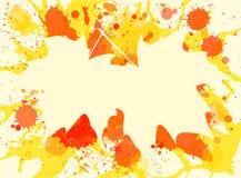 在油漆背景的槭树叶子 免版税库存照片
