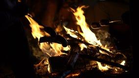 在油煎在阵营火,野火的风险,格栅周末的棍子的香肠 影视素材