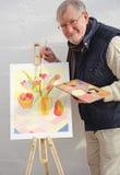 在油的高级绘画郁金香在画布 库存图片