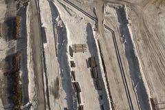 在油砂的牵引索,亚伯大 库存图片