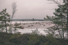 在沼泽为收获培养的区域beeing的草皮领域-葡萄酒减速火箭的影片神色 免版税库存照片