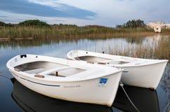 在沼泽地沙丘Costiere公园,普利亚,意大利内的一点小船 图库摄影