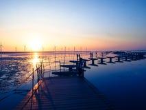 在沼泽地的美好的日落 免版税库存图片