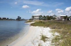在沼泽点着陆的海滩在墨西哥湾海岸美国的橙色海滩 库存图片