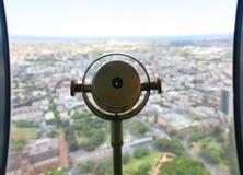 在沿海城市的望远镜 免版税库存照片