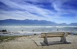 在沿海岸区的空的长凳 免版税库存照片