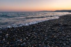 在沿海的日落 图库摄影
